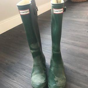 Hunter forest green tall rainboots